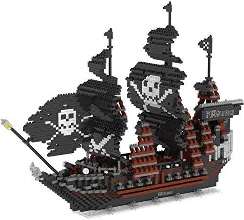 Tiny Particle Puzzle Block, Black Pearl Pirate Ship Model Building Block Set 3633pcs Large Ship-Nano Micro Blocks Diamond DIY Toys
