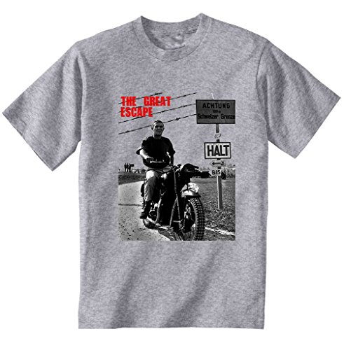teesquare1st Men's Steve McQueen The Great Escape Grey Tshirt XXXLarge Size