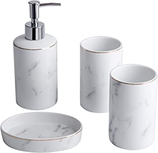 White Bathroom Accessories Set - 4 Pieces Bath Ensemble Set Include Hand Soap Dispenser Soap Dish and 2 Tumblers Marble Bathroom Accessory Set for Bathroom Countertop Ceramic Soap Dispenser Set