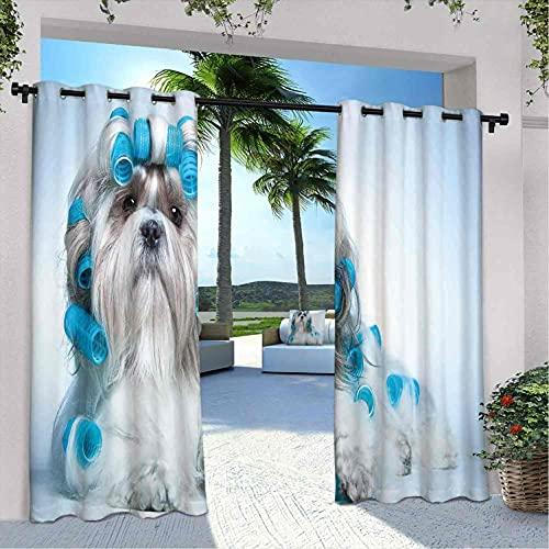 Cortinas para decoración de amantes de los perros, Shih tzu Dog con Surlers de aseo de peluquería, vistas frontales de estudio, para dormitorio, sala de estar, porche, pérgola, 120 x 84 pulgadas