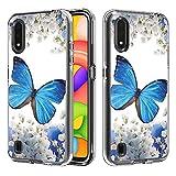 Miagon Trasparente Chiaro Custodia per Samsung Galaxy A01,Colorato Design Duro PC e Morbido TPU Interno 2 in 1 Cover Gel Slim Antiscivolo Protettiva Antiurto,Blu Farfalla