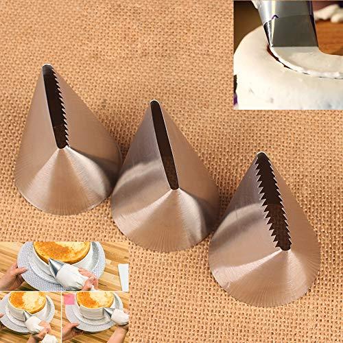 BLUGUL 3 Piezas Extra Grande Plano Boquillas para decoración de Pasteles, para Limpiar la Superficie de la Torta
