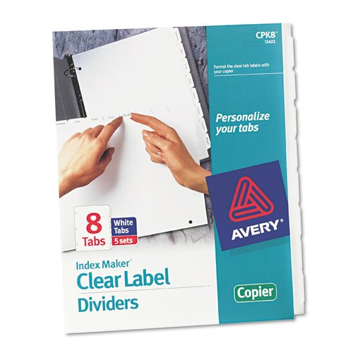 Print and Apply Index Maker Clear Label Dividers, Copiers, 8-Tab, Letter, 5 Sets