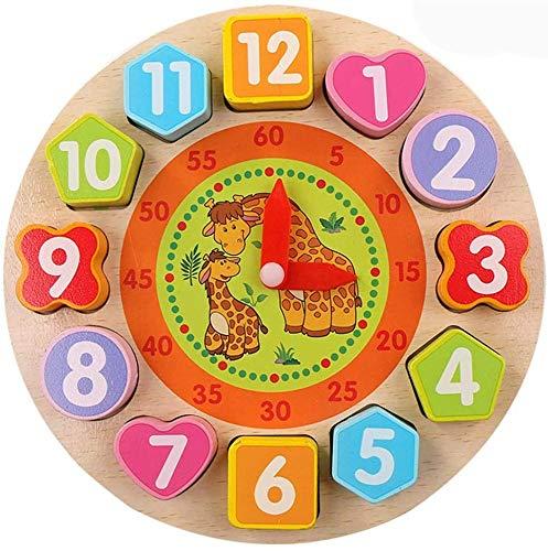 Afufu Juguete de Reloj de Madera Educativo, Juguetes Montessori Juegos Educativos de Clasificación con Numeros y Formas Geometricas, Relojes de Aprendizaje para Todos los Niños y Niñas 2 3 4 5 Años