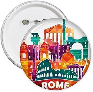 DIYthinker Italie Rome Paysage des douanes Haut-lieu touristique national Motif Illustration ronde Pin Badge Bouton 5Pcs S
