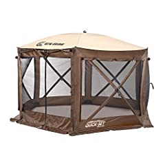 Sets up in 45 seconds, Ready to use right out of the box, no assembly required Built in wind/rain panels, Adjustable zippered weather panels, Triple layer corner pole pockets No-see-um mesh screen, Water resistant roof with taped seams Includes six d...