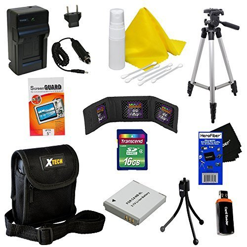 Ideal Accessory Kit for Canon Powershot SX170 IS - Includes: 16 GB memory card, High Capacity NB-6L Rechargeable Replacement Battery, AC/DC (home/car) Rapid Battery chatger, 50' Light Weight Aluminum Photo/Video Tripod, Protective Digital Camera Carrying Case, Universal Card Reader, Mini Tabletop Tripod, Memory Card Wallet, Lens Cleaning Fluid, Cleaning Cloth, Universal Screen Protectors with Squeegee Card, 5 Cotton Swabs, HeroFiber Ultra Gentle Cleaning Cloth