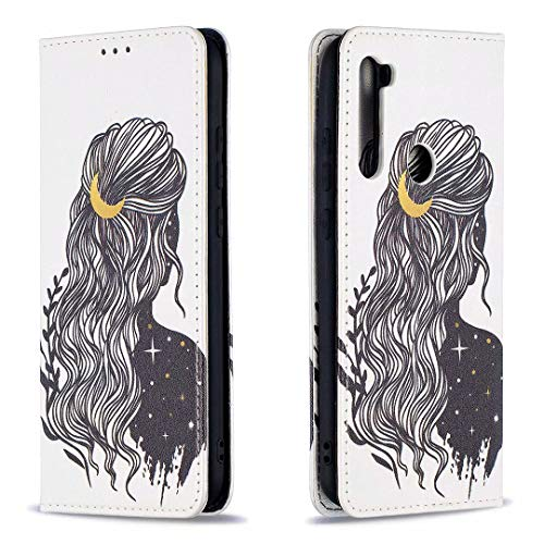 Miagon Brieftasche Hülle für Xiaomi Redmi Note 8,Kreativ Gemalt Handytasche Case PU Leder Geldbörse mit Kartenfach Wallet Cover Klapphülle,Mädchen