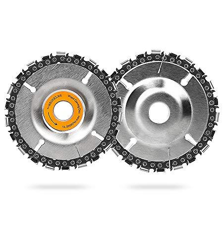 Disco de cadena de molino de 2 piezas, 4 pulgadas y 22 dientes de acero para tallar madera disco para cortar y moldear, se adapta a amoladoras angulares de 4 pulgadas o 4 1/2 pulgadas