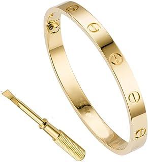 QUEEN JULIA Gold Bracelets for Women Couples Bracelets Titanium Steel Love Bracelet Buckle Pulseras de Mujer Valentines Wedding Couples Buckle Bracelet for Lover