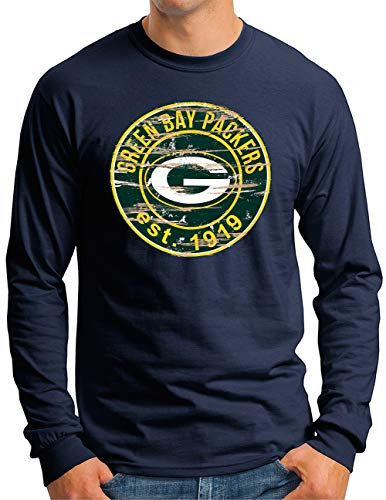 OM3® - Green Bay Badge - Langarm Shirt | Herren | American Football Team - Longsleeve - Navy, XL