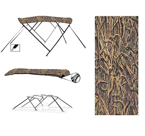 Affordable 8 oz 4 Bow Camouflage Mossy Oak Shadow Grass CAMO Boat Bimini TOP Sunshade for SANPAN 250...