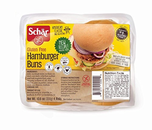 Schar Gluten Free Hamburger Buns, 10.6oz Bag (Pack of 2)