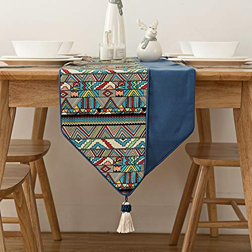 LIZHAIMING Caminos De Mesa De Lino De Algodón Azul con Borlas Manteles para Cocina Manteles De Granja Jardín Banquetes De Boda Cena Interior Exterior Decoraciones para El Hogar,33x240cm