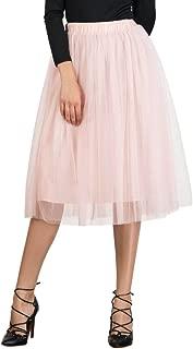 Women's Elastic Waist Ballet Layered Princess Mesh Tulle Midi Skirt