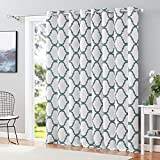 Melodieux Moroccan Wide Curtains Room Darkening Blackout Drape for Extra Wide Window, Patio Sliding Glass Door, 1 Panel (100 x 84 Inch, Off White/Dusty Blue)