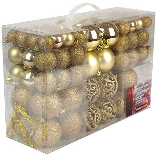 Unbekannt Christmas Gifts–Bolas de Navidad, plástico, plástico, Dorado,...