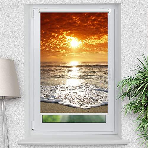 La-Melle » Rollo Motiv Meer Sonnenuntergang | Verschiedene Größen | Klemmrollo ohne Bohren | auch für Wand- oder Deckenbefestigung, Größe: B 70 x H 120 cm