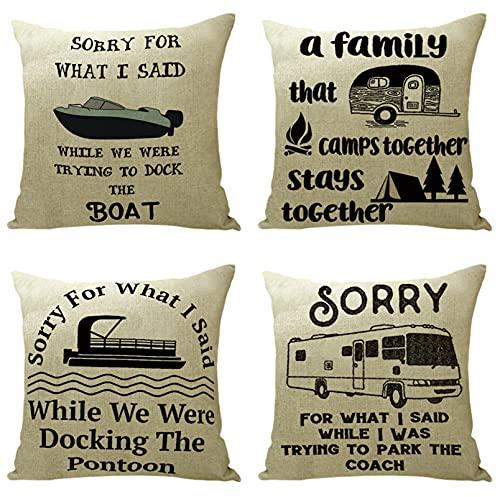 KaiXINSun Throw Pillow Fundas Paquete de 4 Funda de Almohada de 18X18 Pulgadas Funda Decorativa para Sofá de Casa Cuadrada Cremallera Invisible 45X45Cm Letras de Vehículos Negros