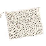 Haodou 1 Unids Bolsa de Paja Bohemia Ratán Bolso de Embrague para Las Mujeres Crochet Playa Bolso de Señora Bolso Tejido A Mano Flap Bolsa