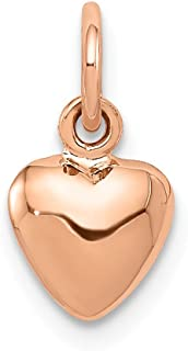 14k Rose 3 D Heart Pendant Charm Necklace Love Puffed Fine Jewelry For Women