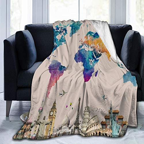 Throw Blanket Lightweight Ultra-Soft,World Travel Map Colorful Landmark Spot Cultural Statue Of Liberty Big Ben Educational Decora,Living Room/Bedroom/Sofa Couch Bed Flannel 4 Seasons Quilt,60' x 80'