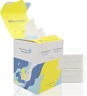100% Cotton Day and Night Soft Facial Towel Cotton Tissues 80 Tissues per Box (1 PACK-80 Count)
