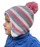HILLTOP Babymütze, doppellagig, hochwertige Kinder Wintermütze, Strickmütze für Jungen und Mädchen, Fleece-Futter. Passend bei einem Kopfumfang von 47-48 cm. Winter Kollektion 2019:Rosa-Grau-Gestreift