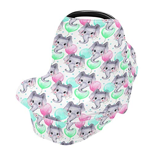 Stretchy Baby Car Seat Covers for Boys Girls Watercolor Elephants Infant Car Canopy Nursing Cover Breastfeeding Scarf