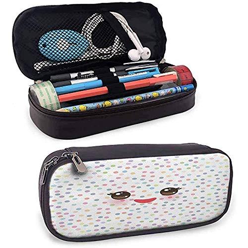Étui à crayons en cuir pour cils Kawaii Museau drôle avec joues roses et yeux mignons sur fond de pois colorés