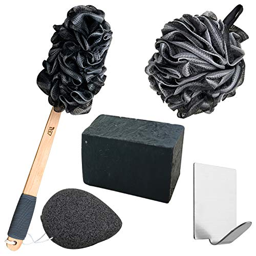 Loofah Charcoal Shower Kit - Exfoliator Sponge for Body – 17-inch Handled Bamboo Loofah, Shower Mesh Scrubber, Konjac Sponge, Charcoal Soap and Hook Set - Luxurious Bath Set for Women and Men