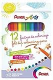 Pentel SCS2E Feutres de Coloriage Enfants à Encre Ultra-Lavable et Pointe Moyenne - Couleurs Assorties - x12 Couleurs