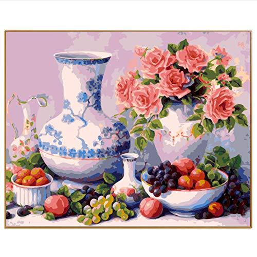 Olieverfschilderij om te knutselen met cijfers, digitale schilderijen, vaas, linnen, decoratief, voor het beschilderen van Bumber-Festival, cadeau, 40 x 50 cm, geen lijst