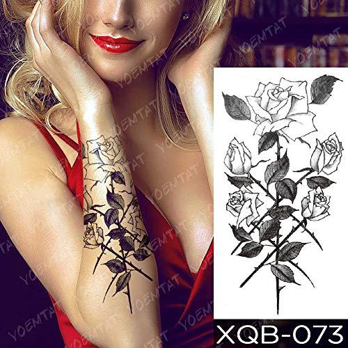 Handaxian 3PCS-Etiqueta engomada del Tatuaje Impermeable Rosa Lotus Flor de Encaje Rosa Tatuaje Serpiente Dragón Body Art Brazo Tatuaje Mujer Mujer-06-XQB073