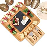 Premium Bamboo Cheese Board and Cutlery Set with Slate Centerpiece, Wood Charcuterie Platter, Serving Meat Board with Slide-Out Drawer with 4 Stainless Steel Cheese Knife Set