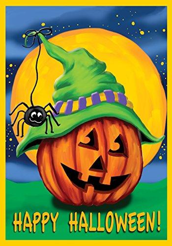 Toland Home Garden Halloween Hitcher 12.5 x 18 Inch Decorative Jack o Lantern Pumpkin Spider Garden Flag