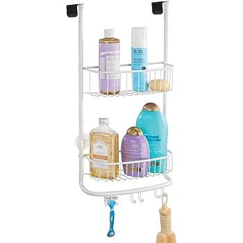 mDesign Estantería de ducha para colgar sobre la mampara – Práctico colgador para ducha con ventosas – Cestas metálicas para los accesorios de ducha – blanco mate: Amazon.es: Hogar