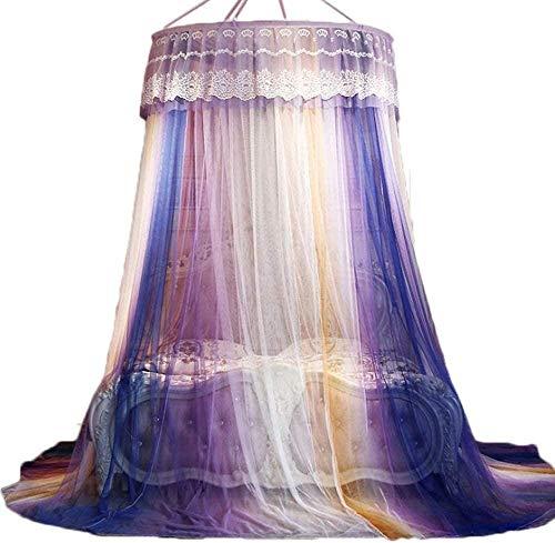 Kyman Dôme moustiquaire Plafond Suspendu, dégradé de Couleur Moustiquaires Interne Unique Boucle sans Aucun ajout de Produits Chimiques, Simple à Lits King Size-C (Color : A)
