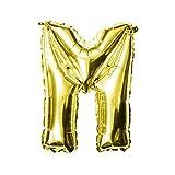 Oblique Unique® Palloncino a Forma di Cuore con Lettere dell'alfabeto ABC in Oro per Compleanno, Anniversario, Nozze d'oro, Decorazione JGA Party – a Scelta