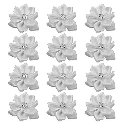 Ruban Satin 40 X DIY Décoration Appliques Fleur Cristal Blanc Mariage Couture