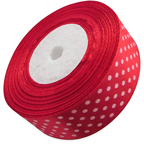 Ribbon 1 inch Red with White Polka Dots Ribbons for Crafts Gift Ribbon Satin Solid Ribbon Roll 1 in x 25 Yards