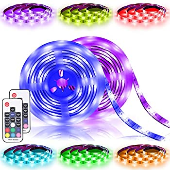 Battery Powered Led Strip Lights 17-Key Remote Controlled RGB Dmeixs Led Lights Strip Color Changing 2 Pack 6.56ft Waterproof Strip Lights Battery Operated Led Strip Kit Indoor and Outdoor Decoration