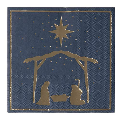 Christmas Party Decorations, Nativity of Jesus Napkins (5 x 5 In, Navy Blue, 50 Pack)