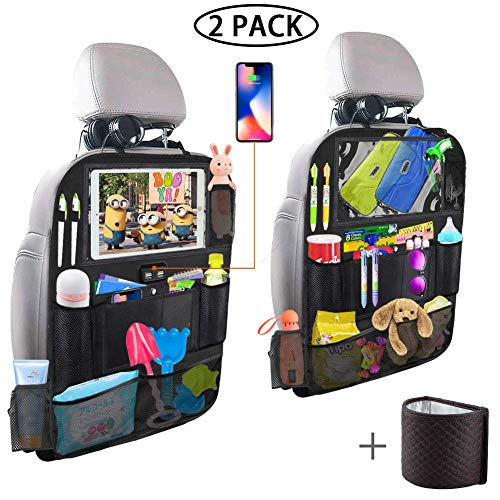 Backseat Car Organizer with 4 USB Charging Port, 11'' Touch Screen Tablet Holder, Seat Back...