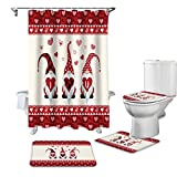Luxus-Duschvorhang-Set, 4-teilig, für Badezimmer, Happy Valentine's Day Red Gnome Love Decor, langlebig, wasserdicht, Badevorhänge mit rutschfester Badematte, WC-Deckelbezug und Konturmatte