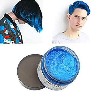 Mofajang Blue Hair Color Wax, Natural Hairstyle Wax 4.23 oz, Temporary Hairstyle Cream for Party, Cosplay, Halloween, Daily use, Date, Clubbing (Blue)