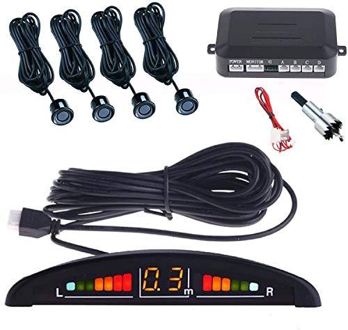 Webeingstore Kit 4 Sensori di Parcheggio per Auto con Display Suono LED Acustico Verniciabili