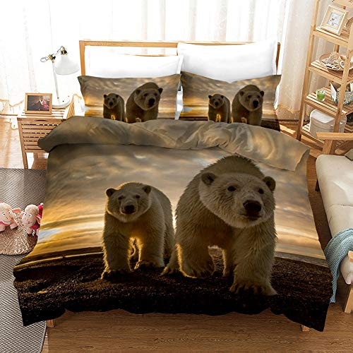 aakkjjzz Superking Duvet Covers Easy Care Hypoallergenic 3 Pcs Bedding Set Microfiber Machine Washable Quilt Cover 220X260cm And 2 Pieces Pillowcases 50X75cm Polar Bear for Super King Size Bed