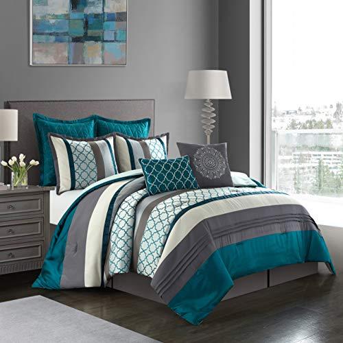 Nanshing Avalon Collection Bedroom Comforter Complete 8 Piece Set, Queen, Peacock/Grey