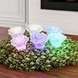 Lavish Home LED Rose Shaped Color Changing 6 Piece Set Flower Design Flameless Accents for Home, Night Light, Decorations, Multicolor